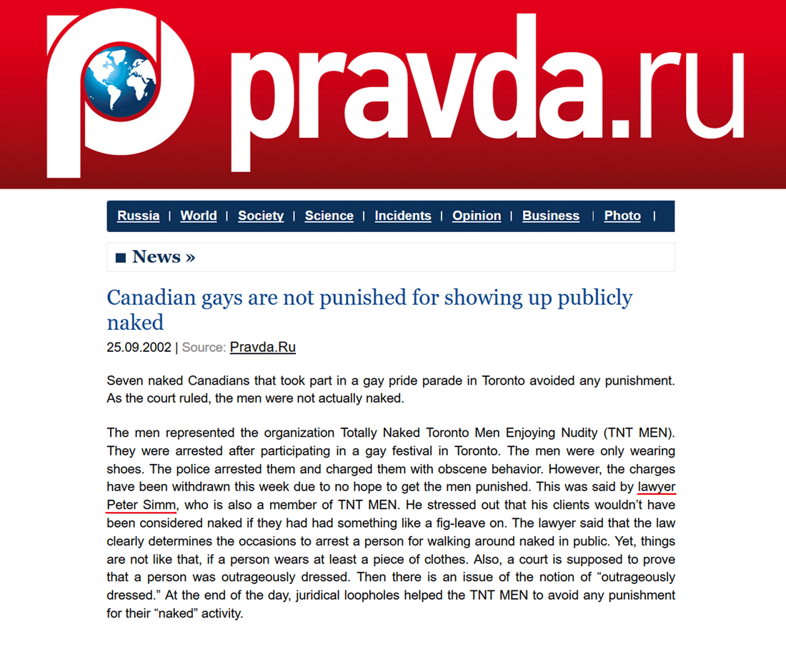 Pravda [Russia; founded by Lenin as Communist propaganda organ] 2002-09-25  - Simm convinces prosecutors to drop charges