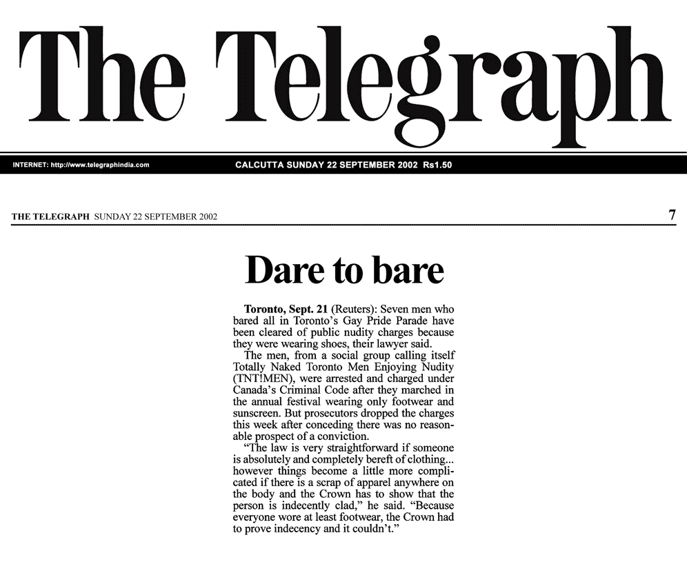 The Telegraph [Calcutta, India] 2002-09-22 - Simm convinces prosecutors to drop nudity charges against Pride marchers